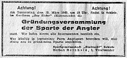 Zeitungsanzeige aus dem 'Thüringer Volk' vom 07.03.1949